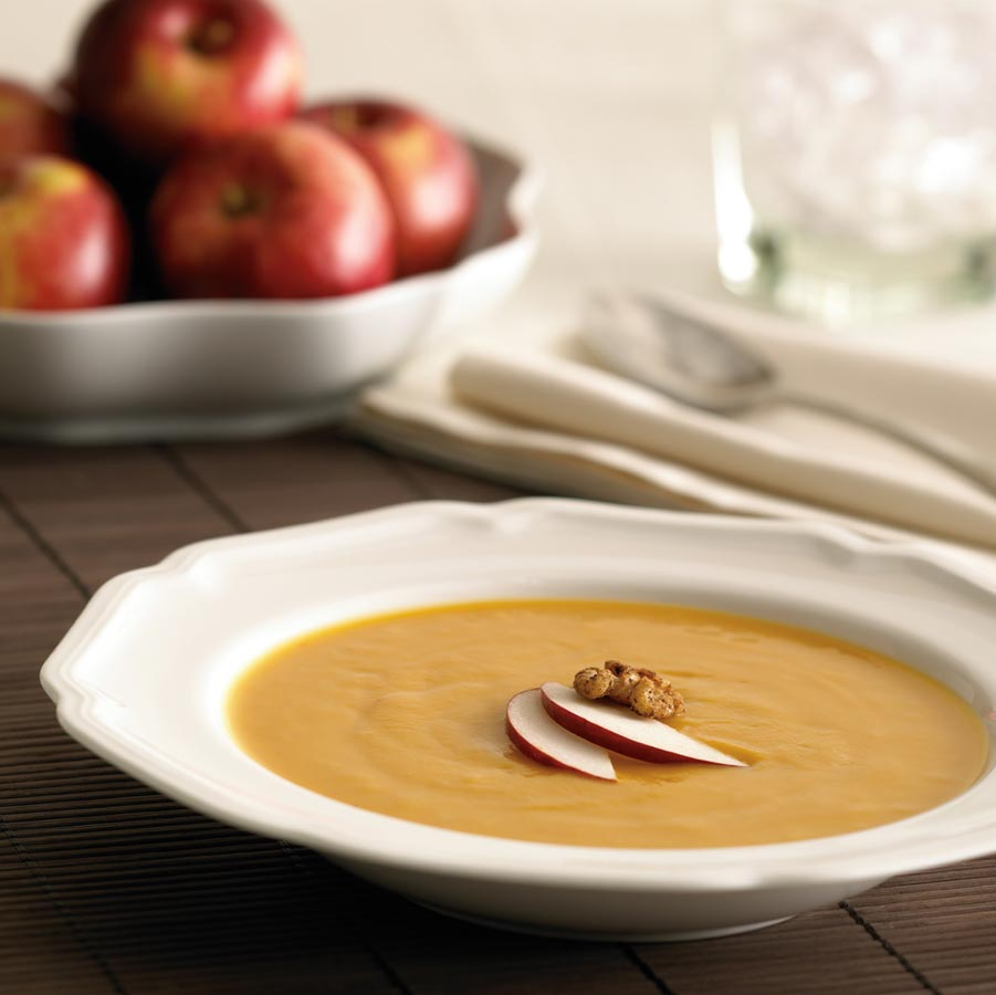 Roasted Ontario Apple and Sweet Potato Soup with Spiced Walnut