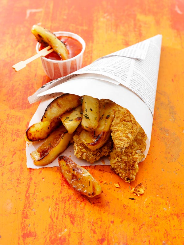 Crispy Chicken Fingers with Ontario Apple Fries