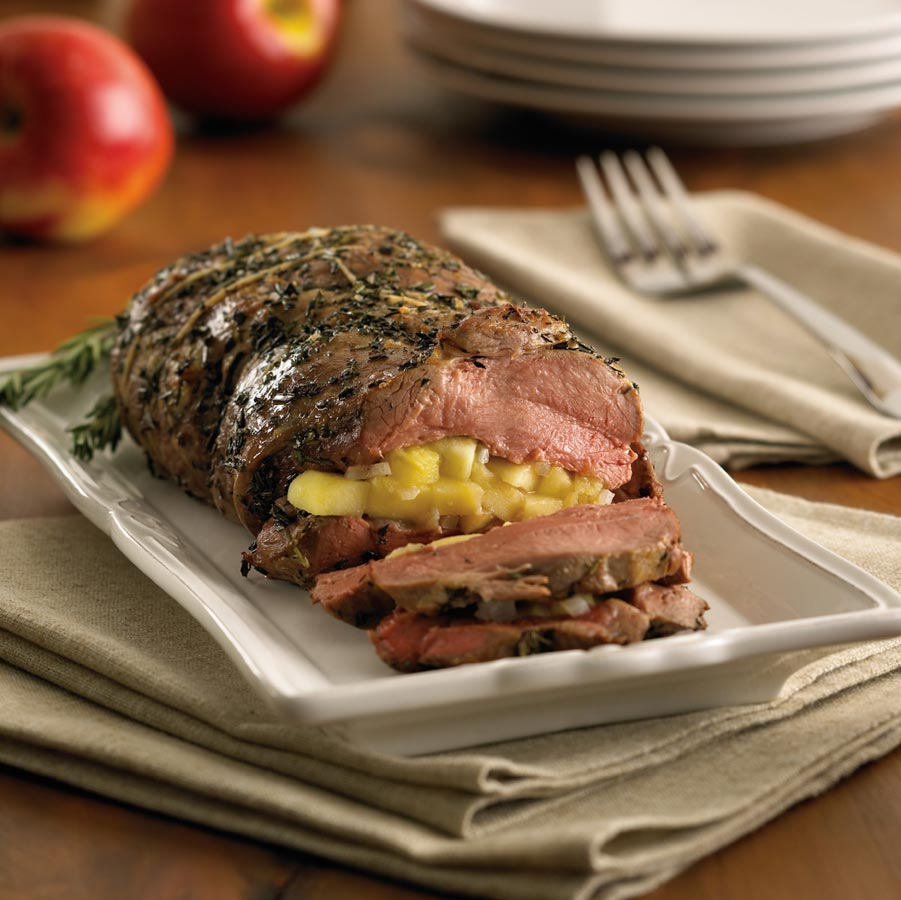Roasted Leg of Lamb Stuffed with Ontario Apple and Rosemary