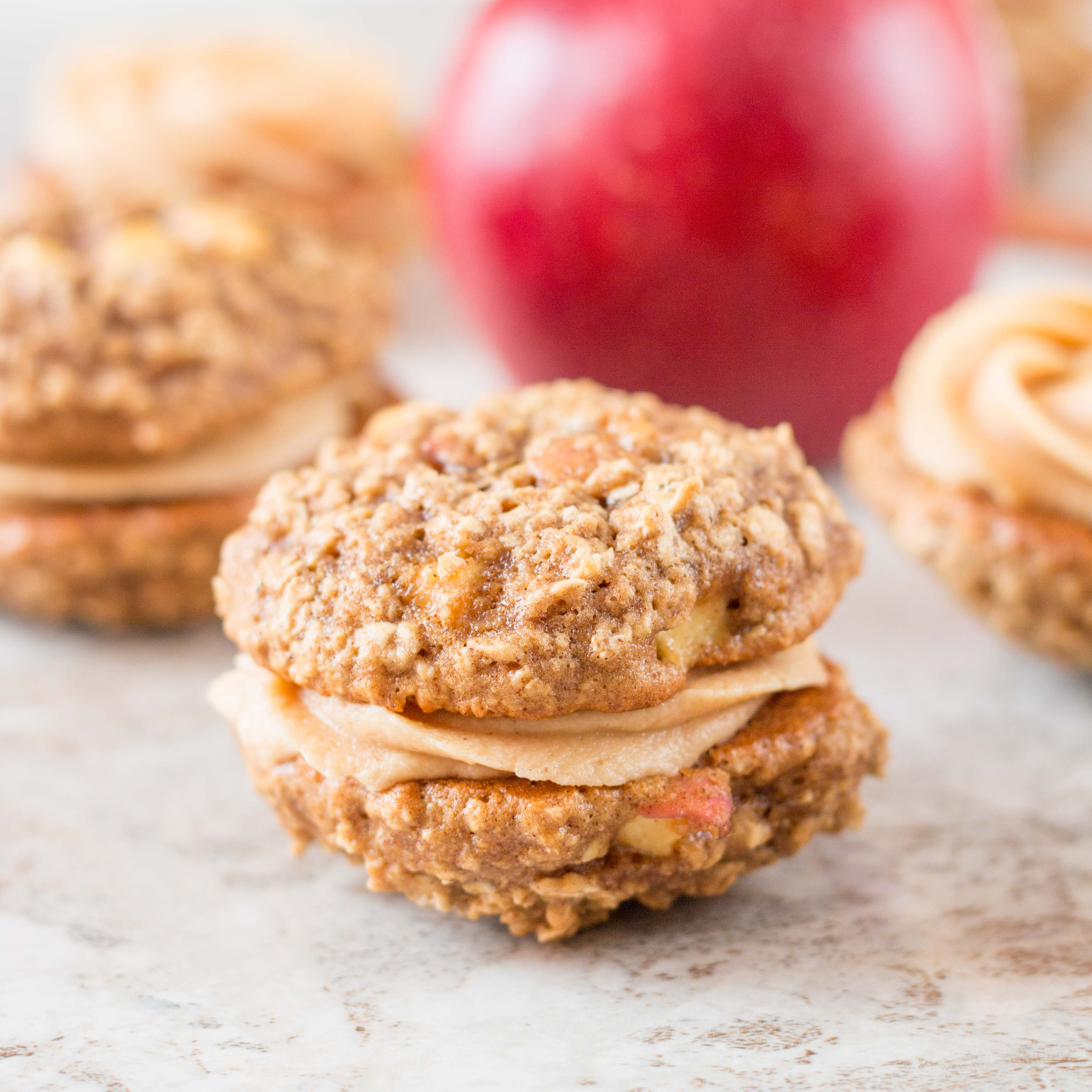 Apple Oatmeal Whoopie Pies with Peanut Butter Frosting