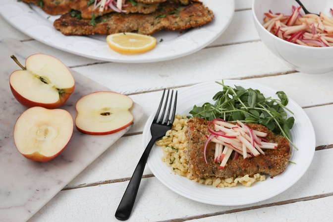 Pickled Apples with Veal Schnitzel