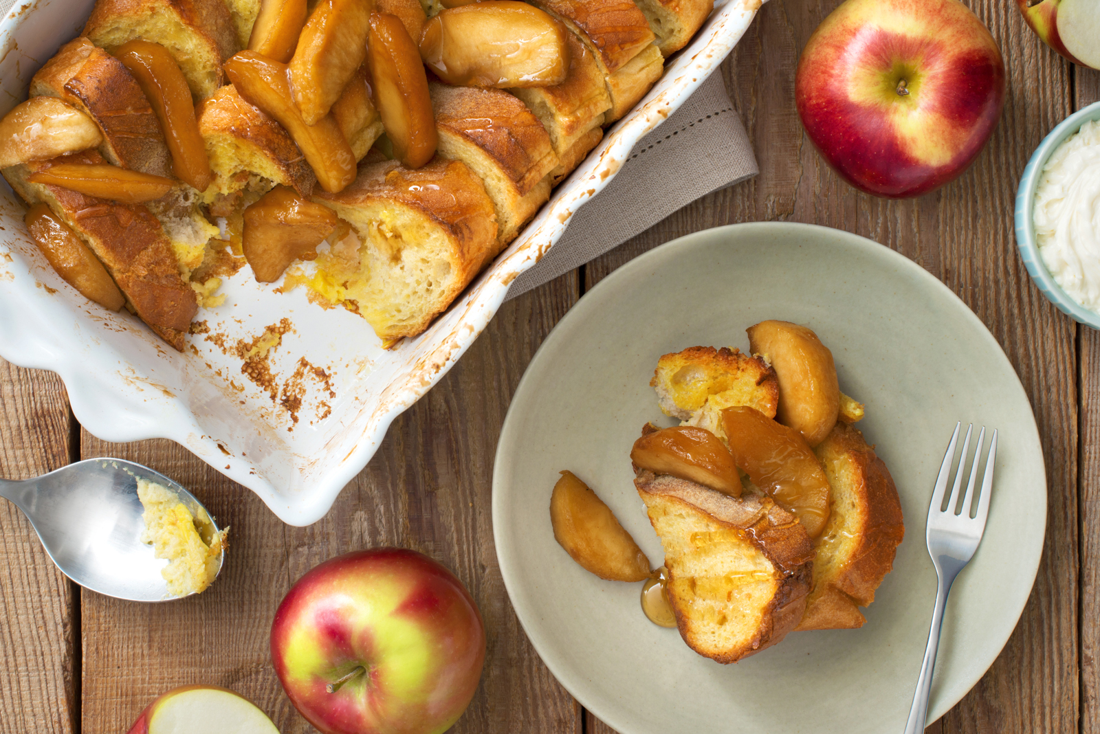 Baked French Toast with Cider Glazed Apples