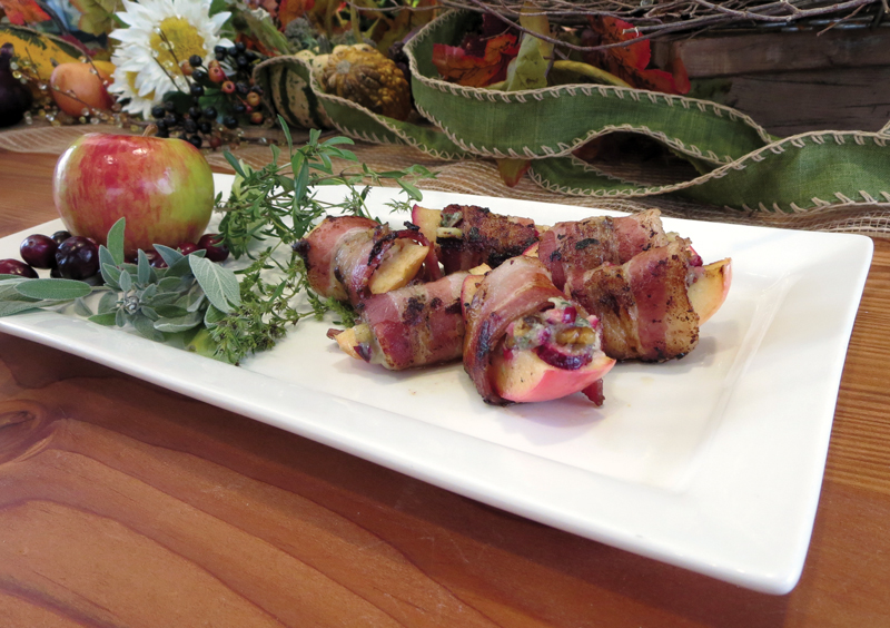 Bacon Wrapped Apples Stuffed with Cranberries, Walnuts & Blue Cheese
